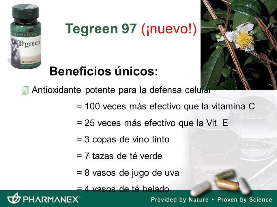 Beneficios únicos: 4 Antioxidante potente para la defensa celular = 100 veces más efectivo que la vitamina C = 25 veces más efectivo que la Vit E = 3