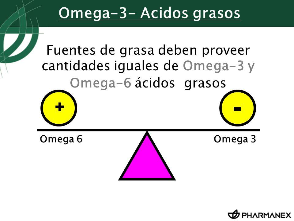 Fuentes de grasa deben proveer cantidades iguales de Omega-3 y Omega-6 ácidos grasos Omega 6Omega 3 + - Omega-3- Acidos grasos