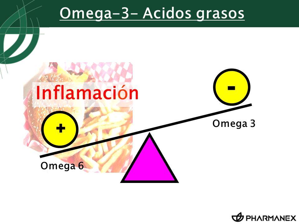 Omega 6 Omega 3 + - Inflamación Omega-3- Acidos grasos