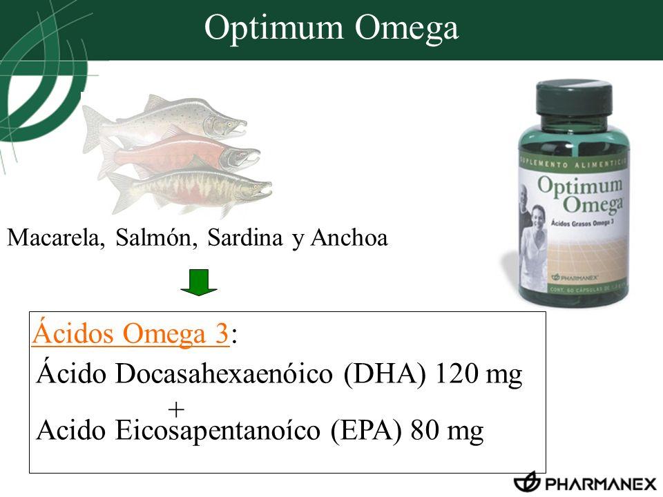 Optimum Omega Ácido Docasahexaenóico (DHA) 120 mg + Acido Eicosapentanoíco (EPA) 80 mg Macarela, Salmón, Sardina y Anchoa Ácidos Omega 3: