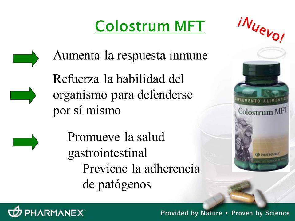 Aumenta la respuesta inmune Refuerza la habilidad del organismo para defenderse por sí mismo Promueve la salud gastrointestinal Previene la adherencia