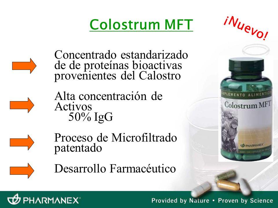 Concentrado estandarizado de de proteínas bioactivas provenientes del Calostro Alta concentración de Activos 50% IgG Proceso de Microfiltrado patentad