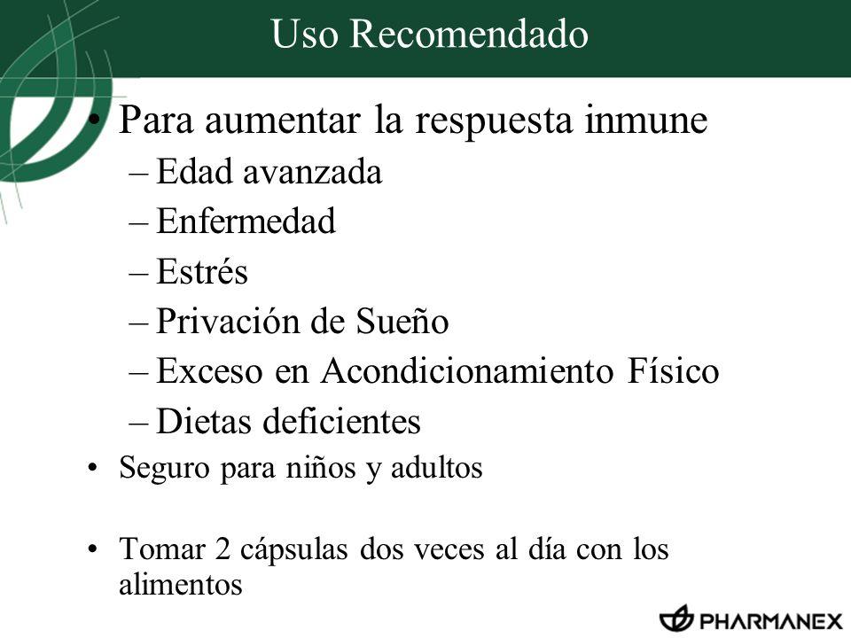 Uso Recomendado Para aumentar la respuesta inmune –Edad avanzada –Enfermedad –Estrés –Privación de Sueño –Exceso en Acondicionamiento Físico –Dietas d