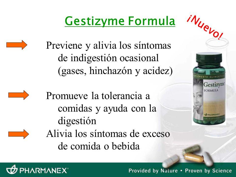 Gestizyme Formula Previene y alivia los síntomas de indigestión ocasional (gases, hinchazón y acidez) Promueve la tolerancia a comidas y ayuda con la