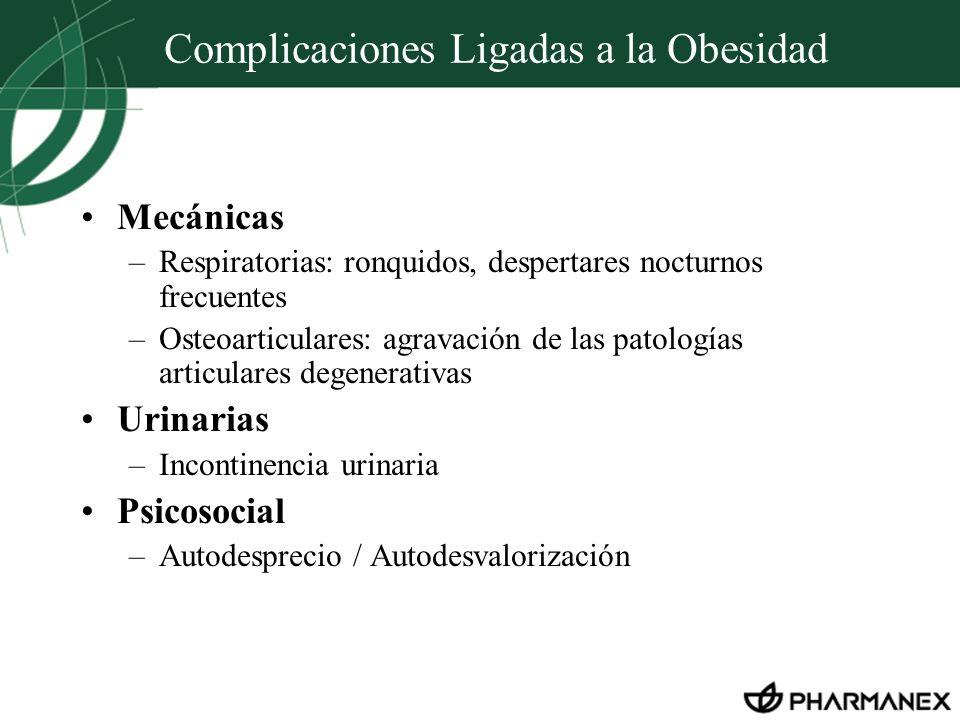 Mecánicas –Respiratorias: ronquidos, despertares nocturnos frecuentes –Osteoarticulares: agravación de las patologías articulares degenerativas Urinar