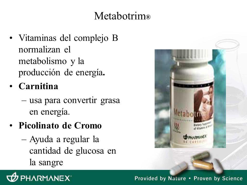 Metabotrim ® Vitaminas del complejo B normalizan el metabolismo y la producción de energía. Carnitina –usa para convertir grasa en energía. Picolinato