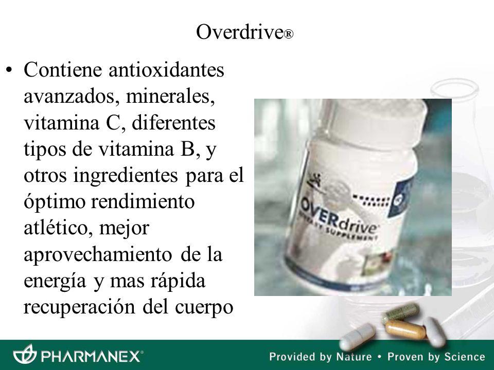 Overdrive ® Contiene antioxidantes avanzados, minerales, vitamina C, diferentes tipos de vitamina B, y otros ingredientes para el óptimo rendimiento a