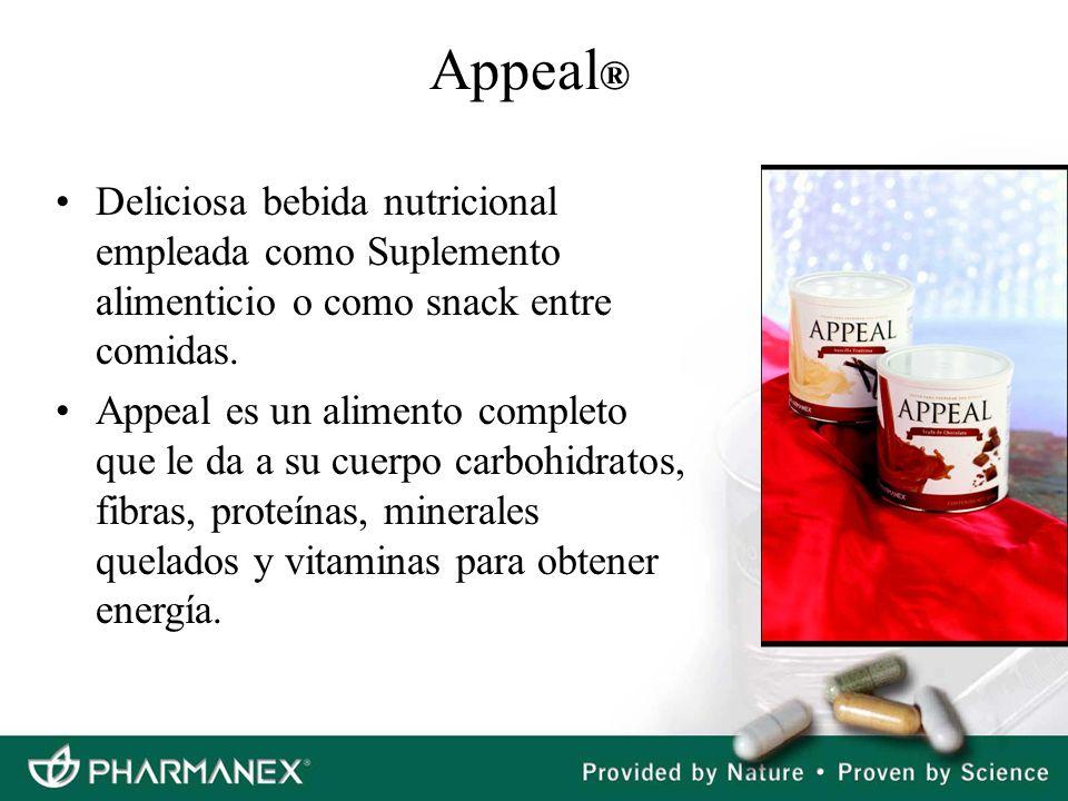 Appeal ® Deliciosa bebida nutricional empleada como Suplemento alimenticio o como snack entre comidas. Appeal es un alimento completo que le da a su c