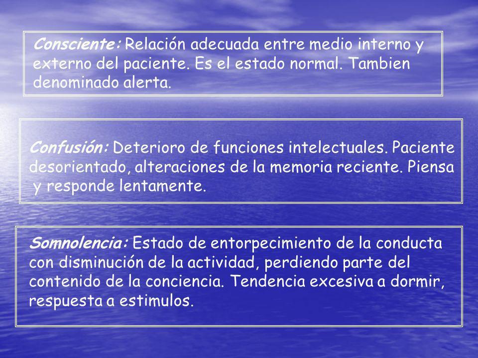 Consciente: Relación adecuada entre medio interno y externo del paciente. Es el estado normal. Tambien denominado alerta. Somnolencia: Estado de entor