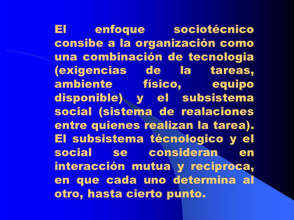 Enfoque de Tavistock: El sistema sociotécnico.