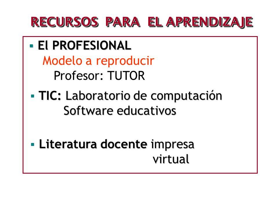 RECURSOS PARA EL APRENDIZAJE El PROFESIONAL El PROFESIONAL Modelo a reproducir Profesor: TUTOR TIC: Laboratorio de computación Software educativos Sof