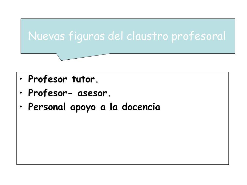 Profesor tutor. Profesor- asesor. Personal apoyo a la docencia Nuevas figuras del claustro profesoral