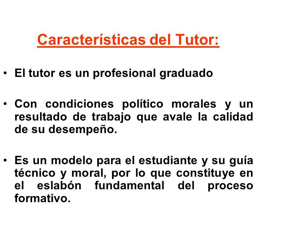 Características del Tutor: El tutor es un profesional graduado Con condiciones político morales y un resultado de trabajo que avale la calidad de su d