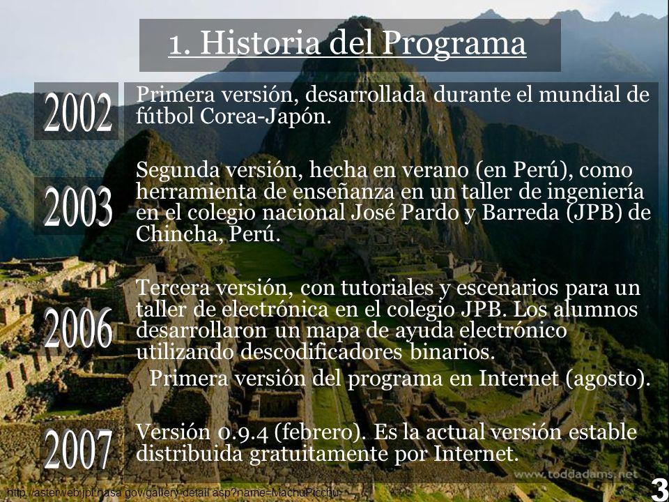 http://asterweb.jpl.nasa.gov/gallery-detail.asp?name=MachuPicchu 1. Historia del Programa Primera versión, desarrollada durante el mundial de fútbol C