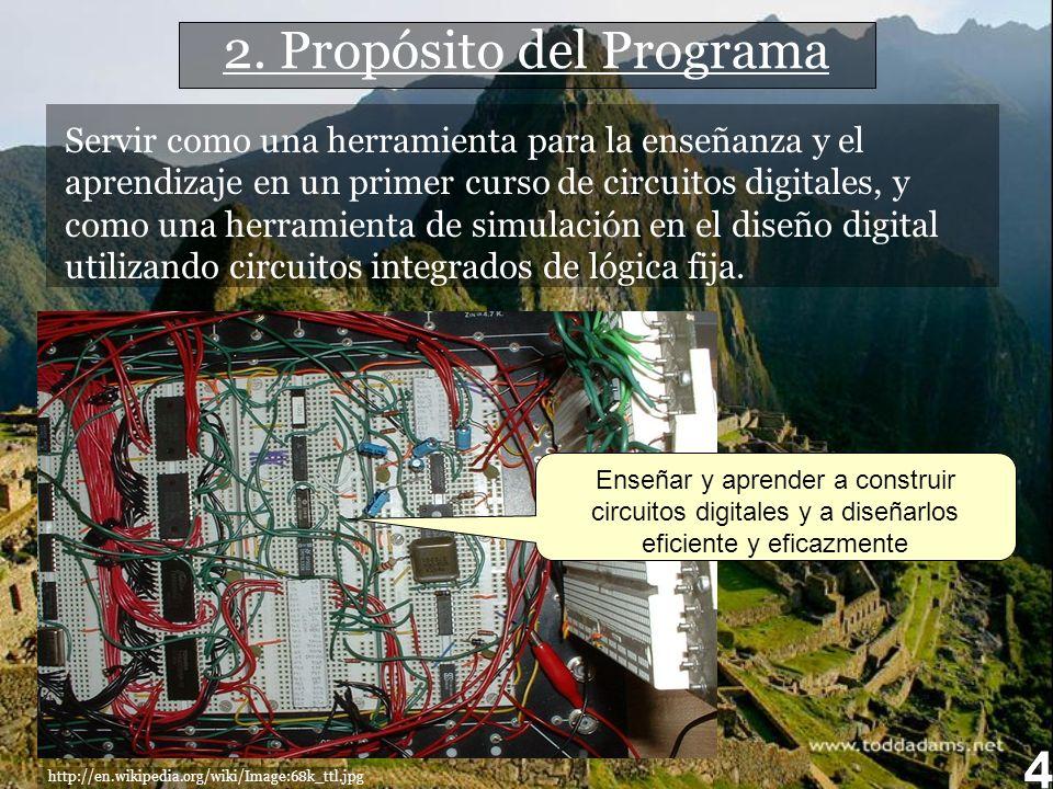 2. Propósito del Programa http://en.wikipedia.org/wiki/Image:68k_ttl.jpg Servir como una herramienta para la enseñanza y el aprendizaje en un primer c