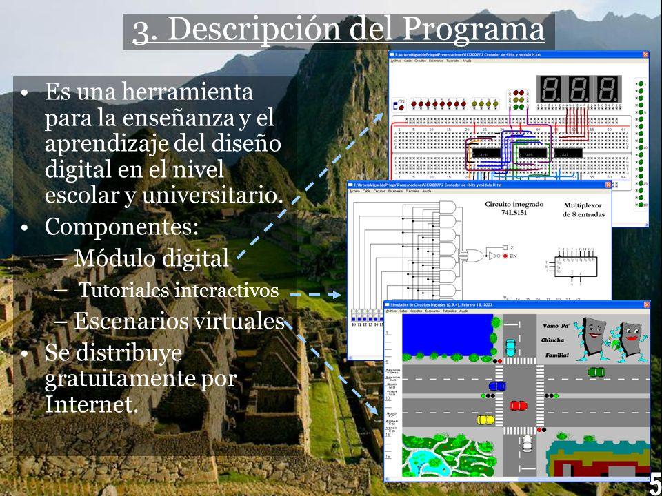 3. Descripción del Programa Es una herramienta para la enseñanza y el aprendizaje del diseño digital en el nivel escolar y universitario. Componentes: