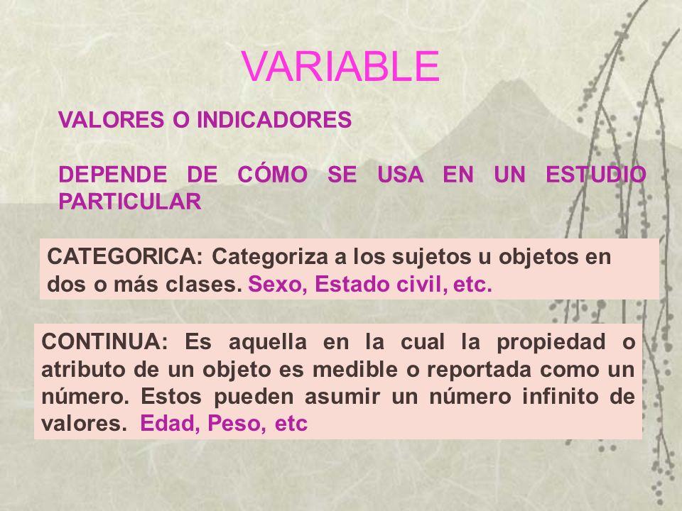 VARIABLE VALORES O INDICADORES DEPENDE DE CÓMO SE USA EN UN ESTUDIO PARTICULAR CONTINUA: Es aquella en la cual la propiedad o atributo de un objeto es