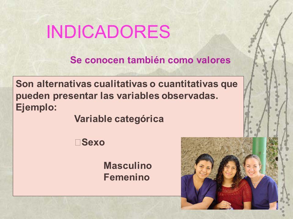 INDICADORES Son alternativas cualitativas o cuantitativas que pueden presentar las variables observadas. Ejemplo: Variable categórica Sexo Masculino