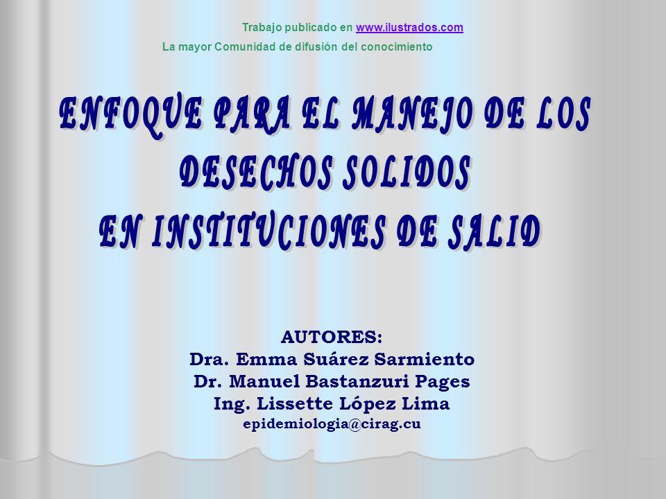 AUTORES: Dra. Emma Suárez Sarmiento Dr. Manuel Bastanzuri Pages Ing. Lissette López Lima epidemiologia@cirag.cu Trabajo publicado en www.ilustrados.co