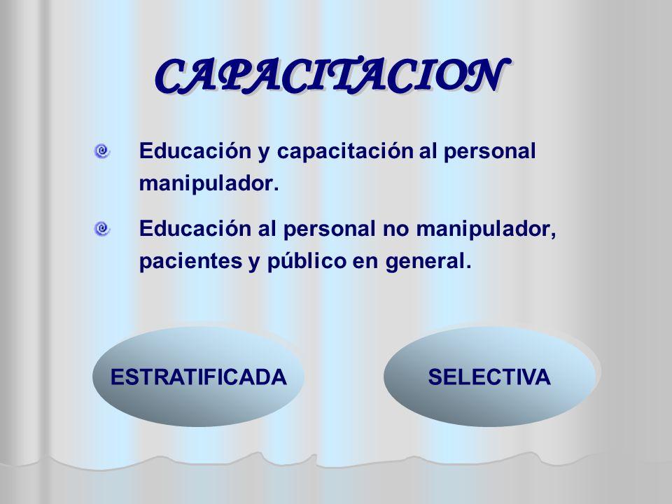 Educación y capacitación al personal manipulador. Educación al personal no manipulador, pacientes y público en general. ESTRATIFICADA SELECTIVA