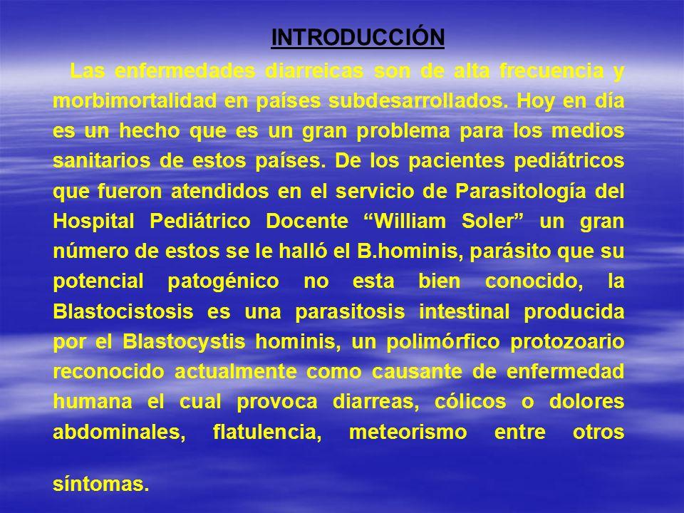-Identificar cuantos pacientes pediátricos atendidos en el servicio de Parasitología del Hospital Pediátrico Docente ¨ William Soler ¨ se le aisló el Blastocystis hominis para determinar su incidencia en población pediátrica atendida en el año 2005.