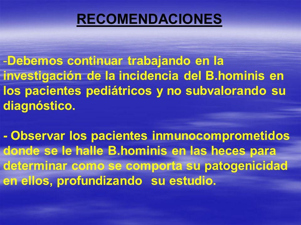 RECOMENDACIONES -Debemos continuar trabajando en la investigación de la incidencia del B.hominis en los pacientes pediátricos y no subvalorando su dia