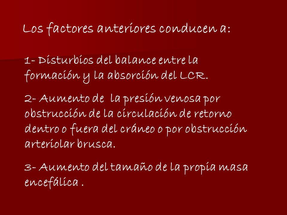 Los factores anteriores conducen a: 1- Disturbios del balance entre la formación y la absorción del LCR.