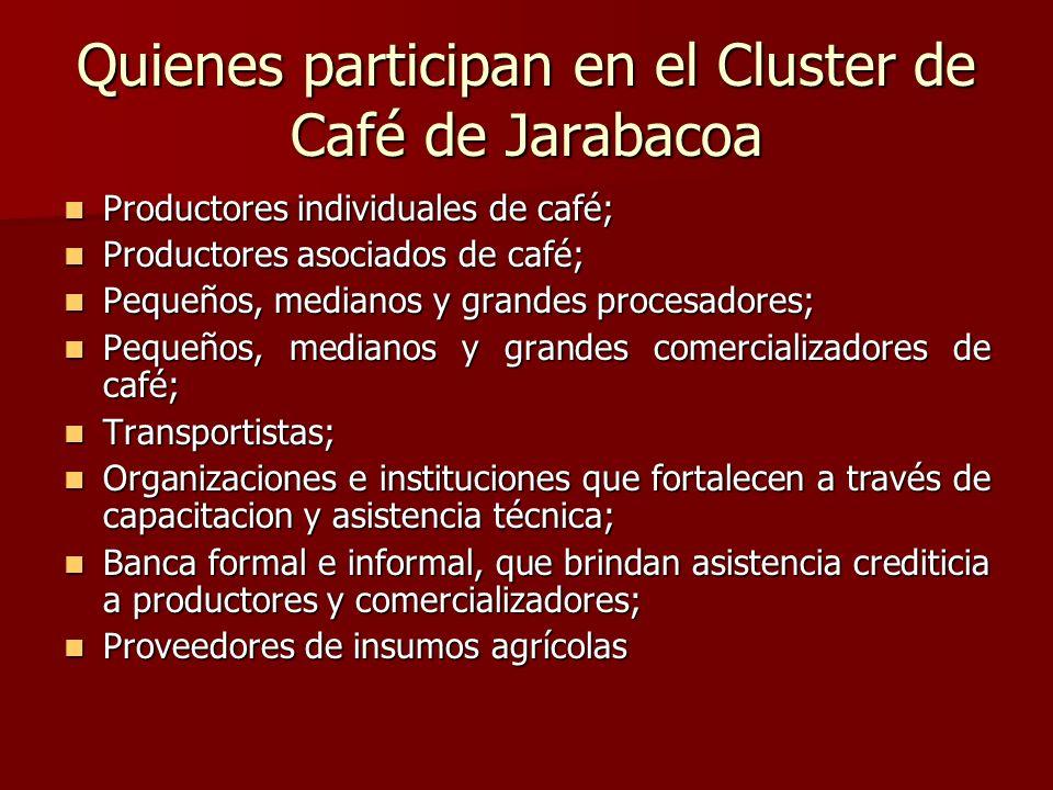 Quienes participan en el Cluster de Café de Jarabacoa Productores individuales de café; Productores individuales de café; Productores asociados de caf