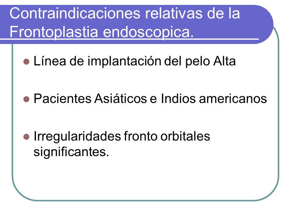 Contraindicaciones relativas de la Frontoplastia endoscopica. Línea de implantación del pelo Alta Pacientes Asiáticos e Indios americanos Irregularida