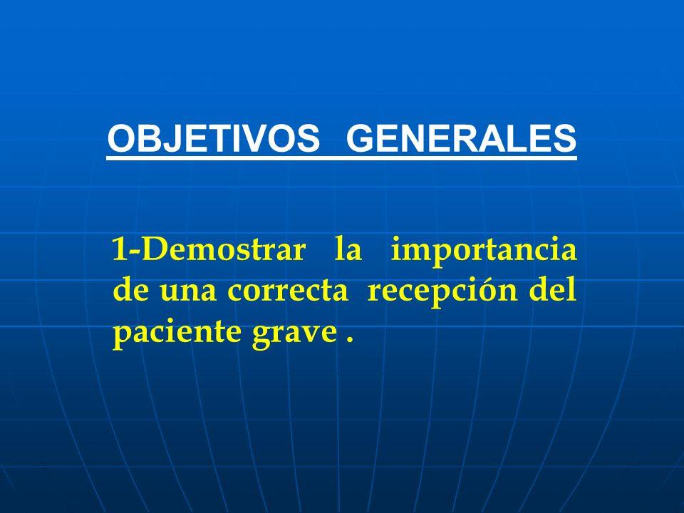 OBJETIVOS GENERALES 1-Demostrar la importancia de una correcta recepción del paciente grave.