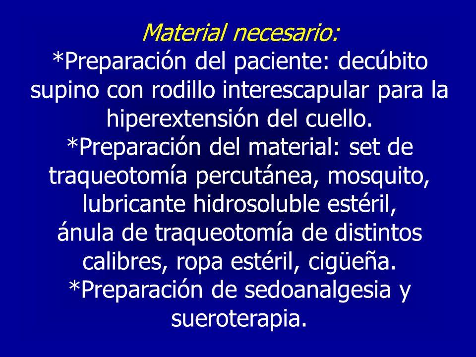 Material necesario: *Preparación del paciente: decúbito supino con rodillo interescapular para la hiperextensión del cuello. *Preparación del material