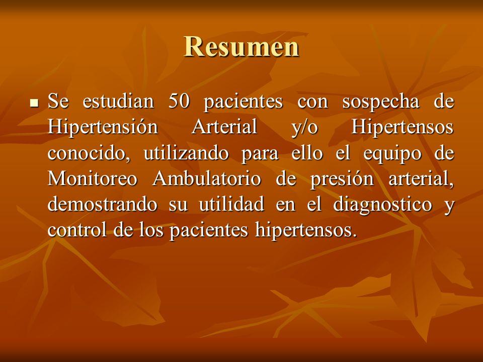 Resumen Se estudian 50 pacientes con sospecha de Hipertensión Arterial y/o Hipertensos conocido, utilizando para ello el equipo de Monitoreo Ambulator