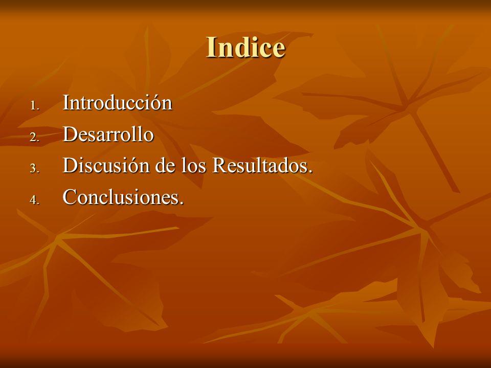 Indice 1. Introducción 2. Desarrollo 3. Discusión de los Resultados. 4. Conclusiones.