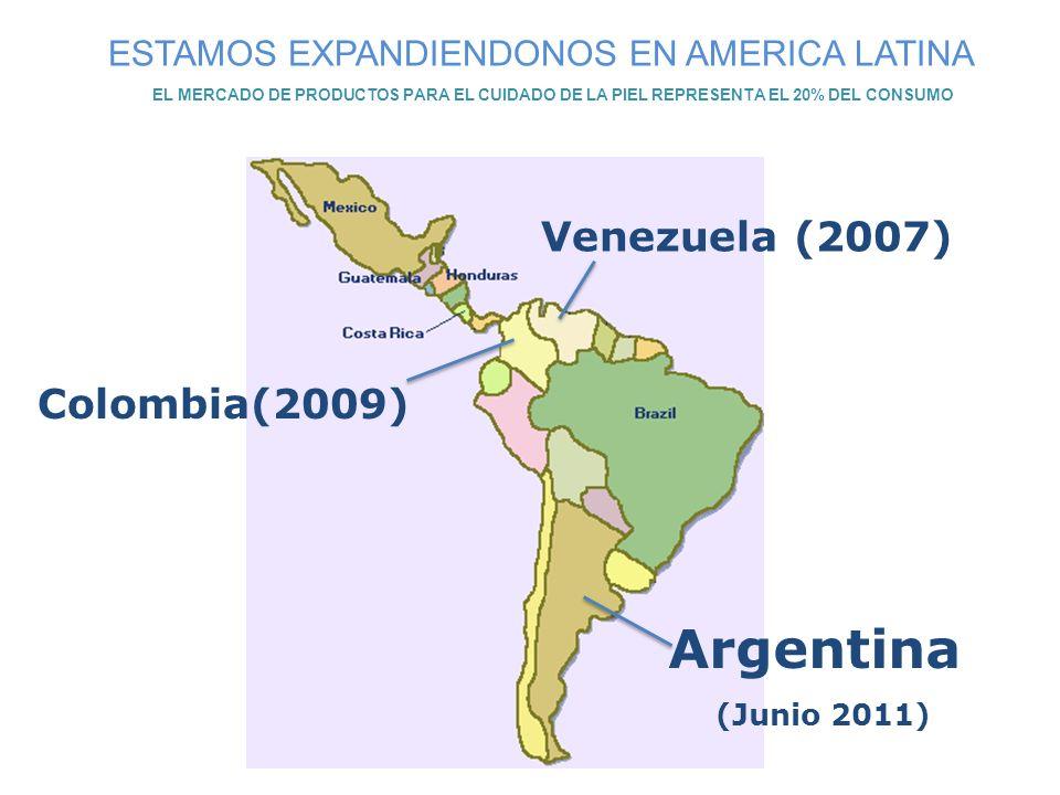 Venezuela (2007) Colombia(2009) ESTAMOS EXPANDIENDONOS EN AMERICA LATINA EL MERCADO DE PRODUCTOS PARA EL CUIDADO DE LA PIEL REPRESENTA EL 20% DEL CONS