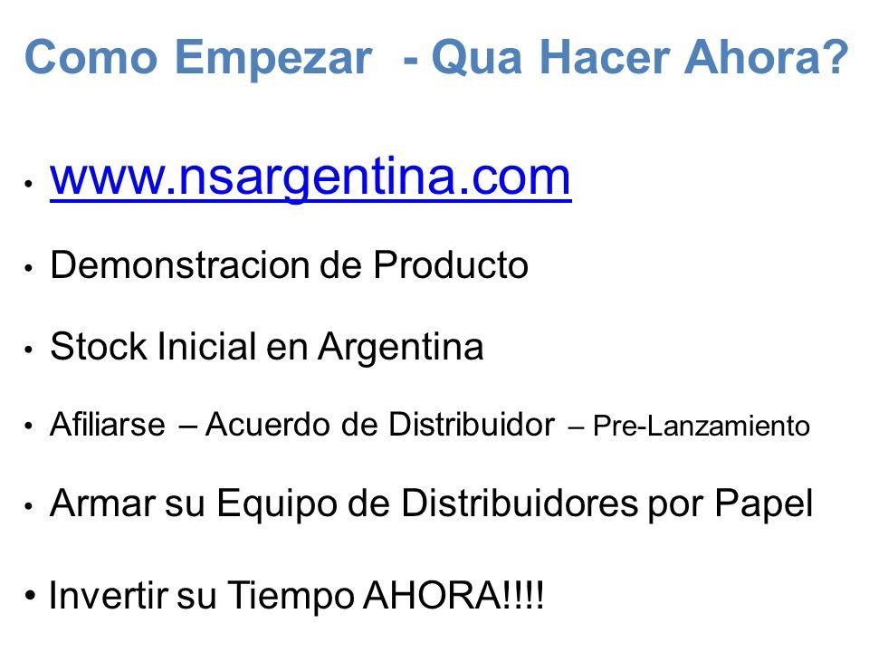 Como Empezar - Qua Hacer Ahora? www.nsargentina.com Demonstracion de Producto Stock Inicial en Argentina Afiliarse – Acuerdo de Distribuidor – Pre-Lan