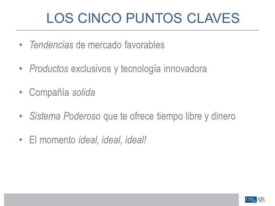 LOS CINCO PUNTOS CLAVES Tendencias de mercado favorables Productos exclusivos y tecnología innovadora Compañía solida Sistema Poderoso que te ofrece t
