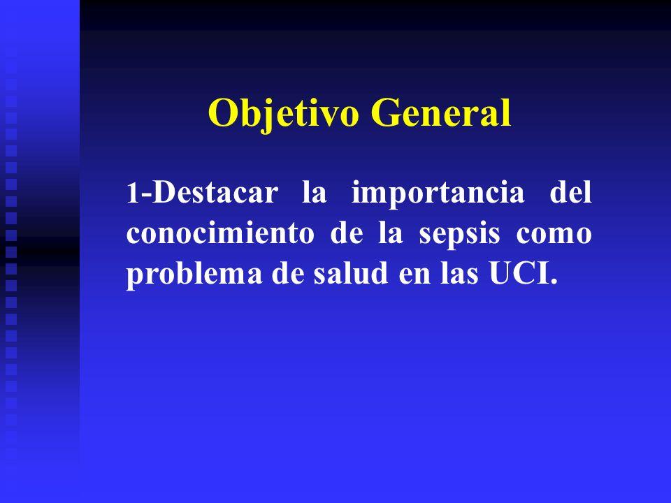 Objetivo General 1 -Destacar la importancia del conocimiento de la sepsis como problema de salud en las UCI.
