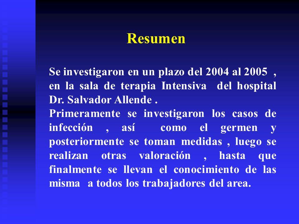 Se investigaron en un plazo del 2004 al 2005, en la sala de terapia Intensiva del hospital Dr. Salvador Allende. Primeramente se investigaron los caso
