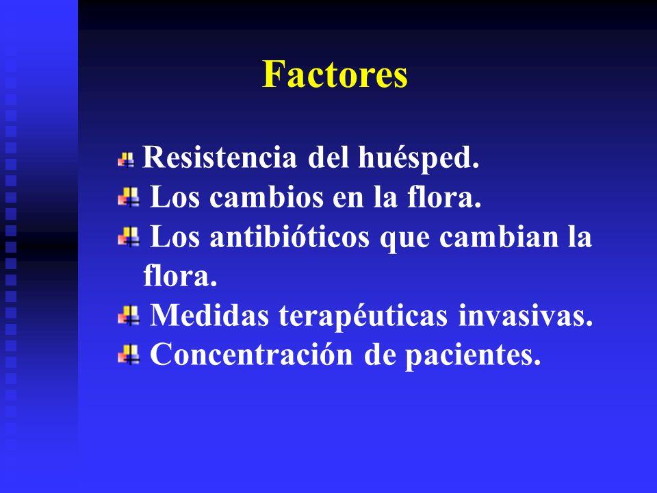 Factores Resistencia del huésped. Los cambios en la flora. Los antibióticos que cambian la flora. Medidas terapéuticas invasivas. Concentración de pac