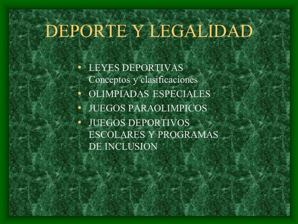 DEPORTE Y LEGALIDAD LEYES DEPORTIVAS Conceptos y clasificaciones OLIMPIADAS ESPECIALES JUEGOS PARAOLIMPICOS JUEGOS DEPORTIVOS ESCOLARES Y PROGRAMAS DE