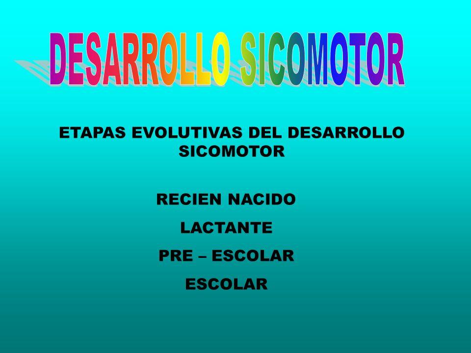ETAPAS EVOLUTIVAS DEL DESARROLLO SICOMOTOR RECIEN NACIDO LACTANTE PRE – ESCOLAR ESCOLAR