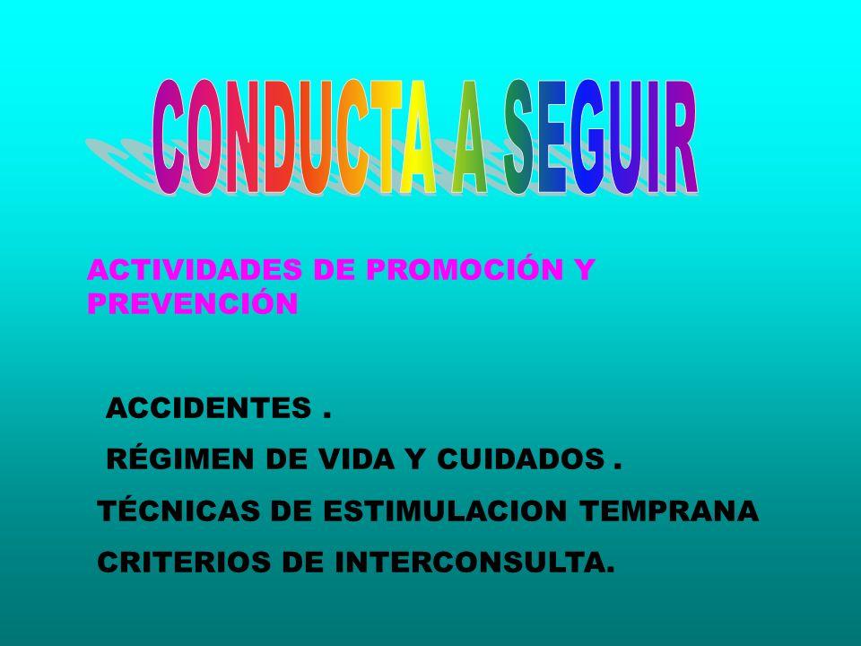 ACTIVIDADES DE PROMOCIÓN Y PREVENCIÓN ACCIDENTES. RÉGIMEN DE VIDA Y CUIDADOS. TÉCNICAS DE ESTIMULACION TEMPRANA CRITERIOS DE INTERCONSULTA.