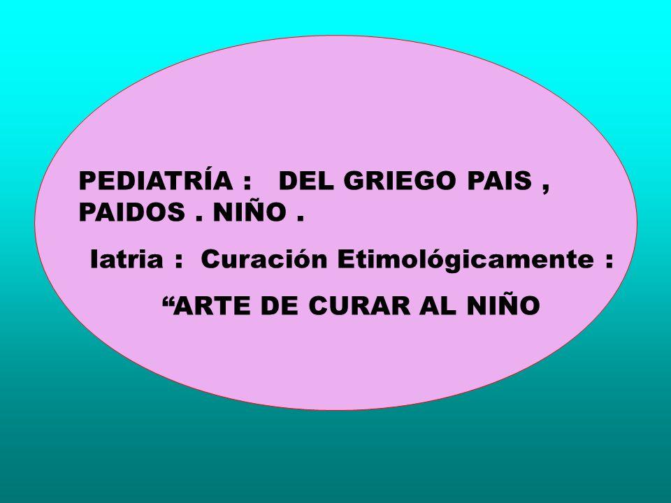 PEDIATRÍA : DEL GRIEGO PAIS, PAIDOS. NIÑO. Iatria : Curación Etimológicamente : ARTE DE CURAR AL NIÑO