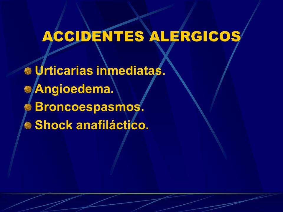 ACCIDENTES ALERGICOS Urticarias inmediatas. Angioedema. Broncoespasmos. Shock anafiláctico.