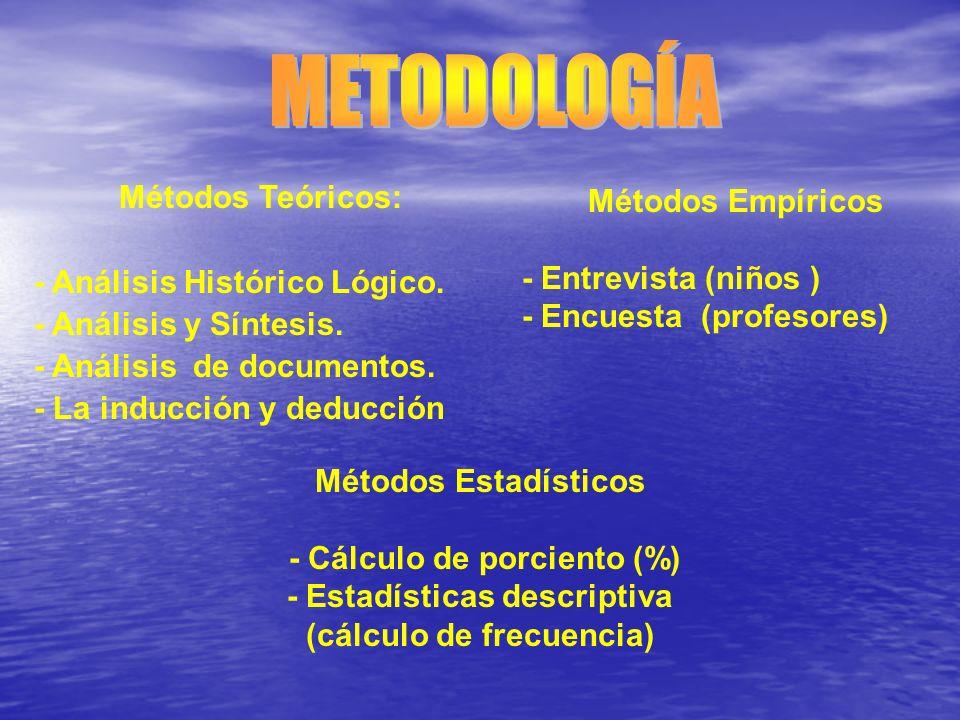 Métodos Teóricos: - Análisis Histórico Lógico. - Análisis y Síntesis. - Análisis de documentos. - La inducción y deducción Métodos Empíricos - Entrevi