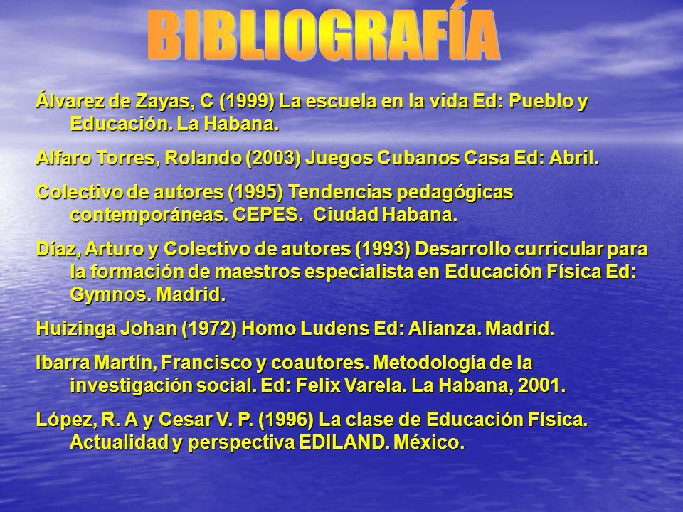 Álvarez de Zayas, C (1999) La escuela en la vida Ed: Pueblo y Educación. La Habana. Alfaro Torres, Rolando (2003) Juegos Cubanos Casa Ed: Abril. Colec