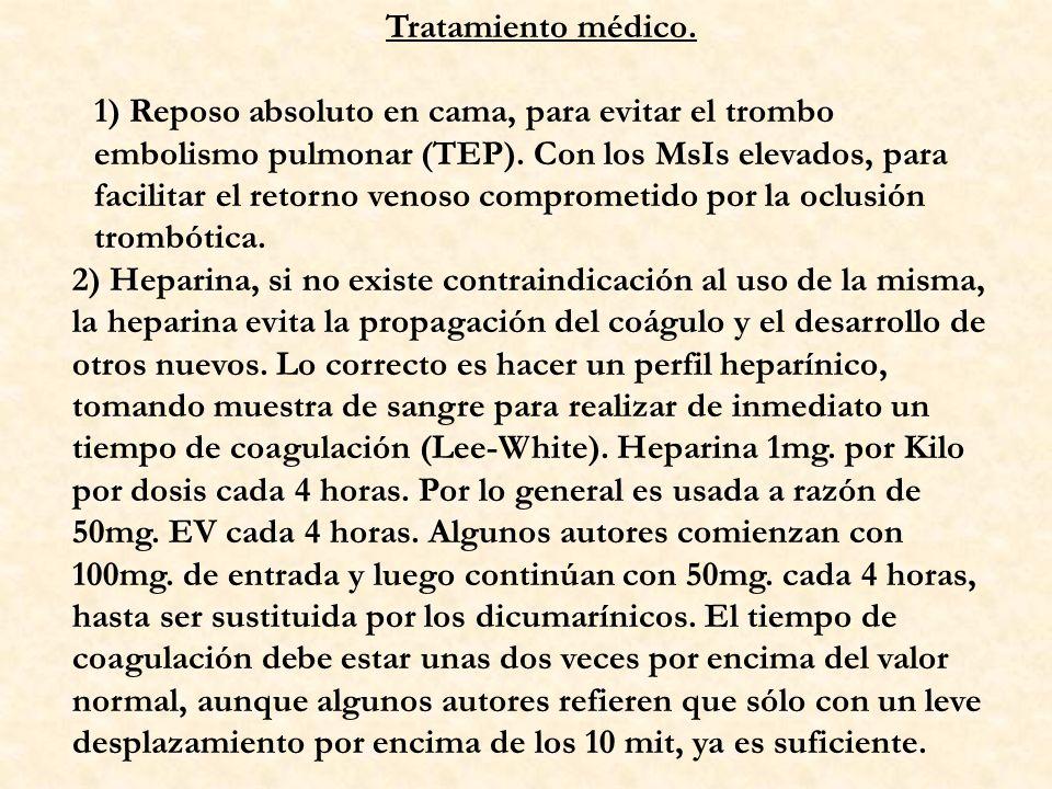 Tratamiento médico. 1) Reposo absoluto en cama, para evitar el trombo embolismo pulmonar (TEP). Con los MsIs elevados, para facilitar el retorno venos