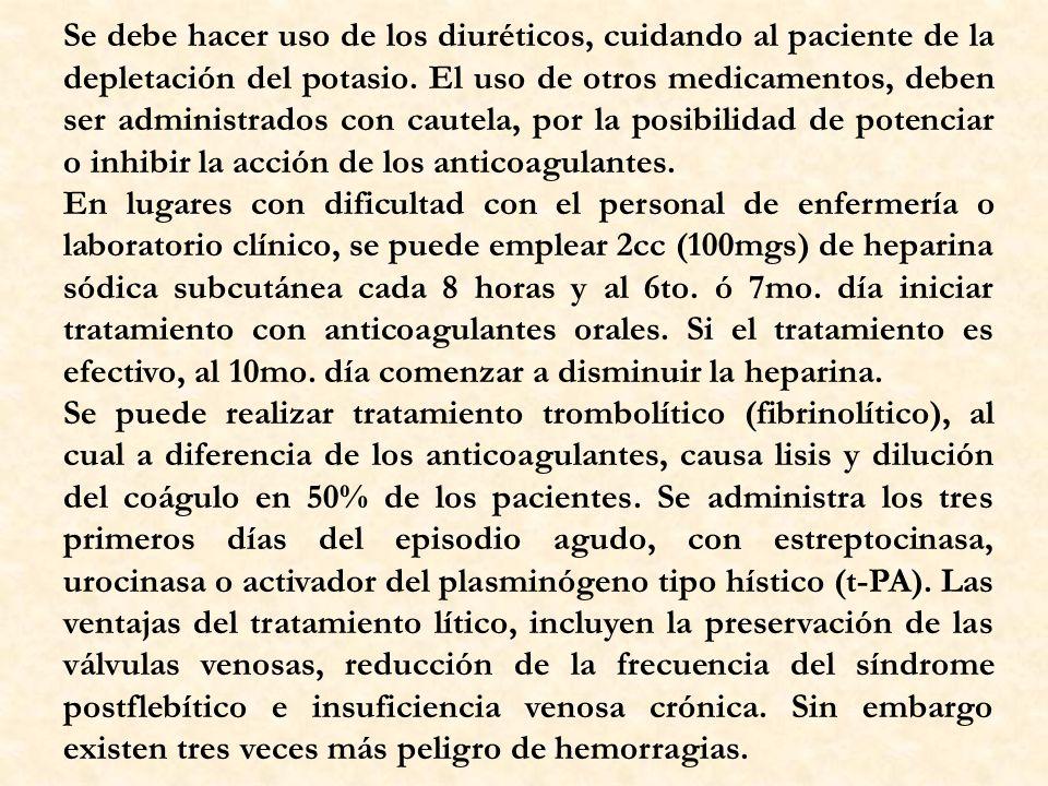 Se debe hacer uso de los diuréticos, cuidando al paciente de la depletación del potasio. El uso de otros medicamentos, deben ser administrados con cau