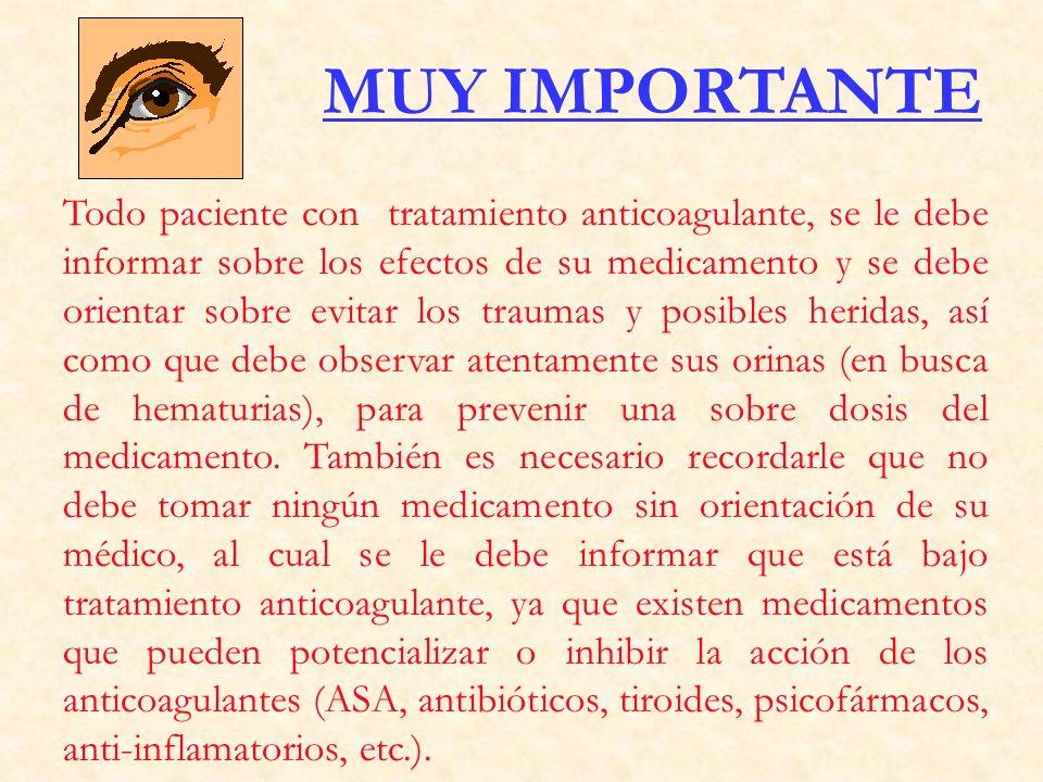 MUY IMPORTANTE Todo paciente con tratamiento anticoagulante, se le debe informar sobre los efectos de su medicamento y se debe orientar sobre evitar l