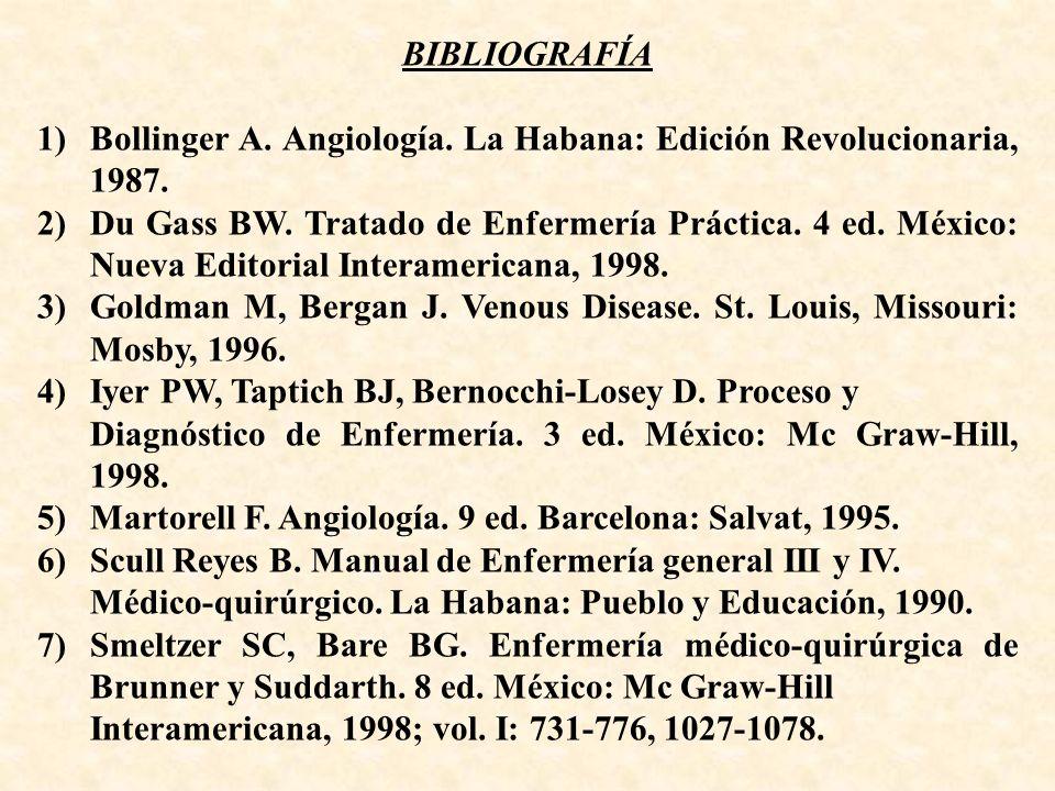 BIBLIOGRAFÍA 1)Bollinger A. Angiología. La Habana: Edición Revolucionaria, 1987. 2)Du Gass BW. Tratado de Enfermería Práctica. 4 ed. México: Nueva Edi
